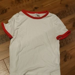 Red and white tshirt